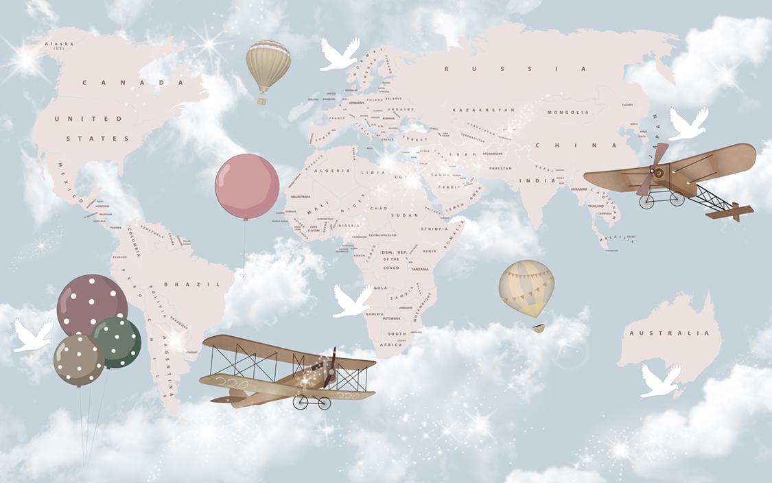 Monde et ballons papiers peints photo 3D