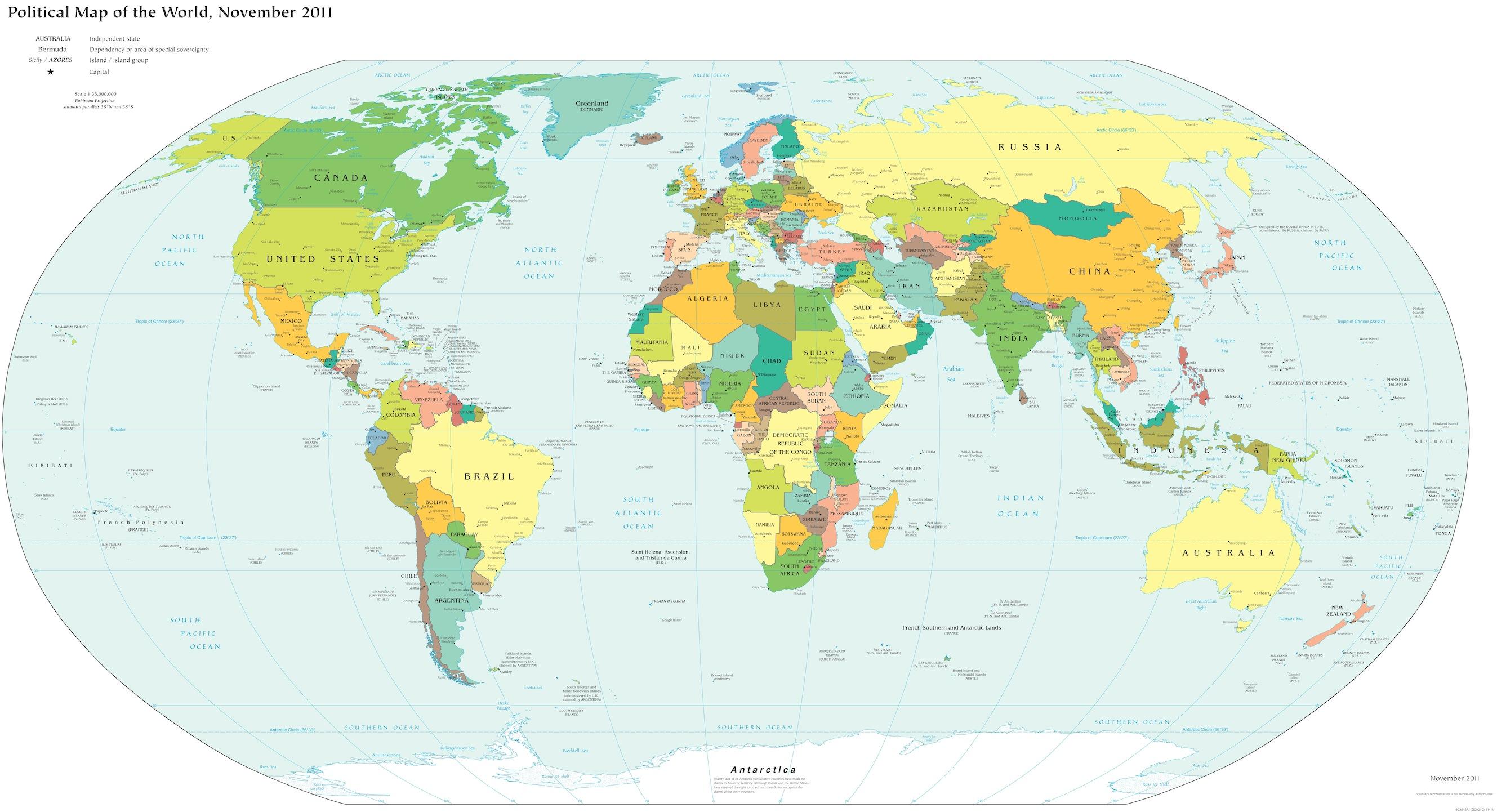 Carte du monde politique papiers peints photo 3D