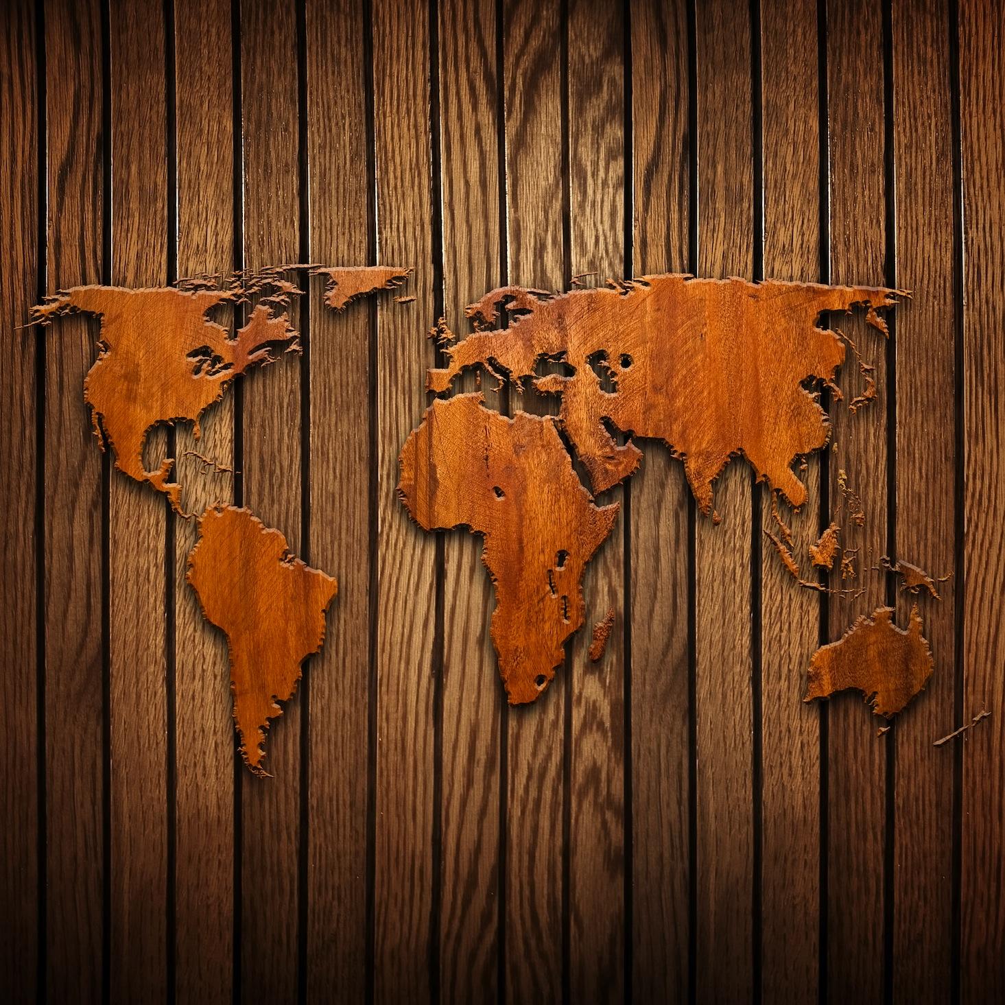 Monde en bois decoration murale