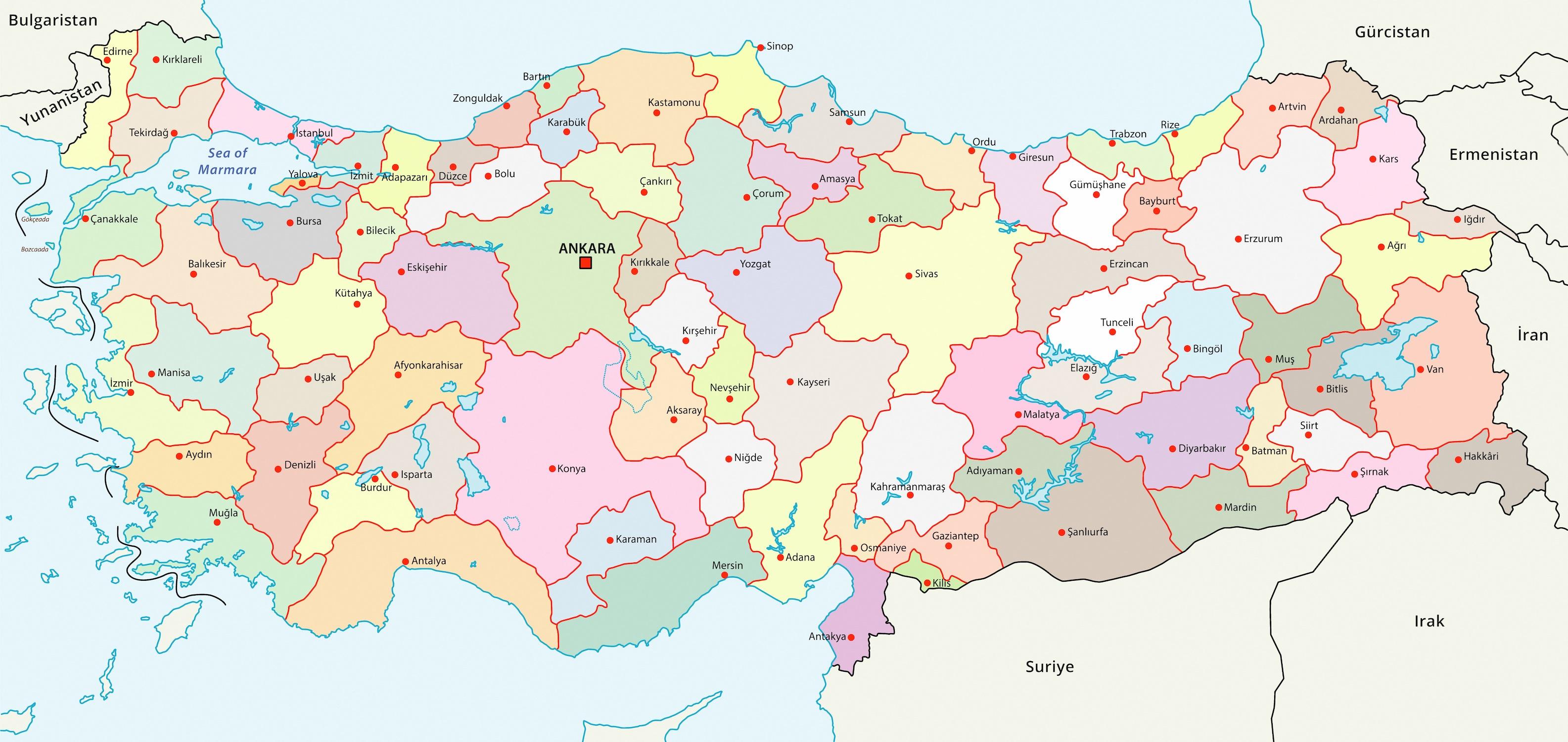 Carte de la Turquie papier peint 3d
