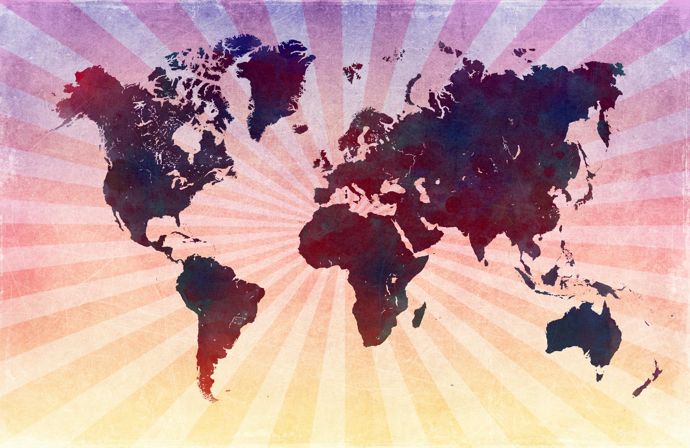 Carte du monde rétro en rose papiers peints photo 3D appliqué sur le mur