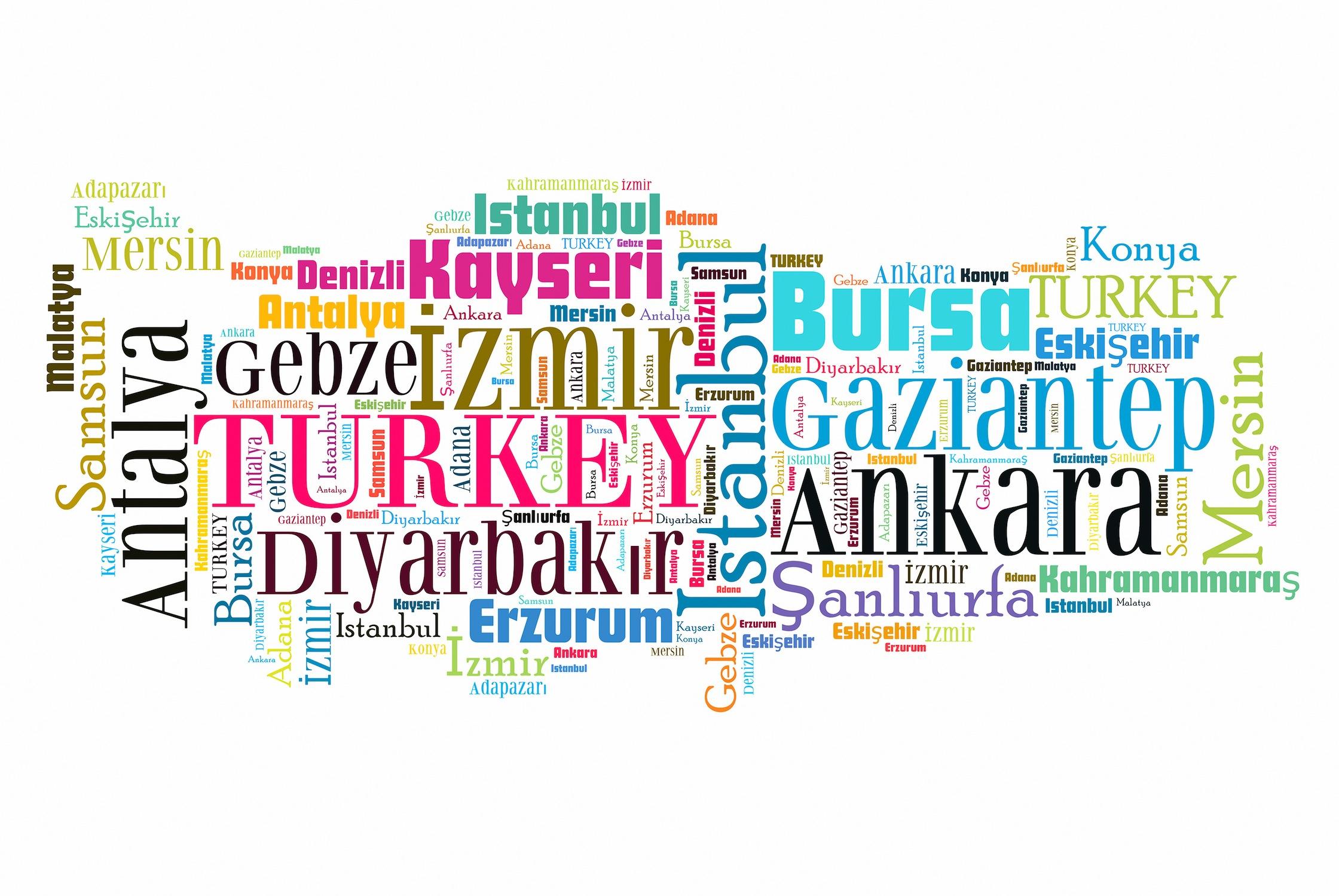Carte typographique Turquie decoration murale appliqué sur le mur