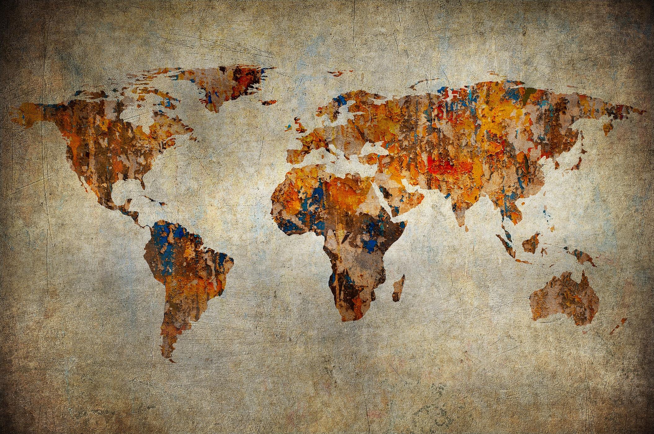 Carte du monde artistique papiers peints photo