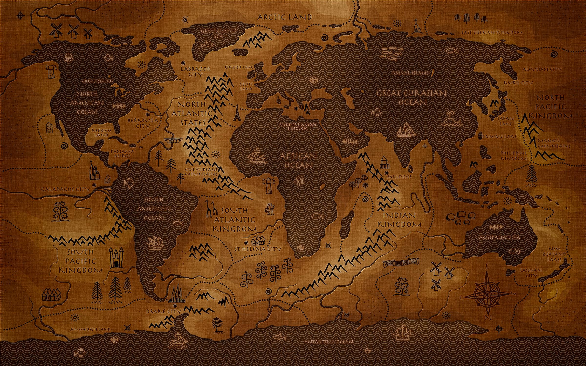 Si les continents étaient des océans papier peint
