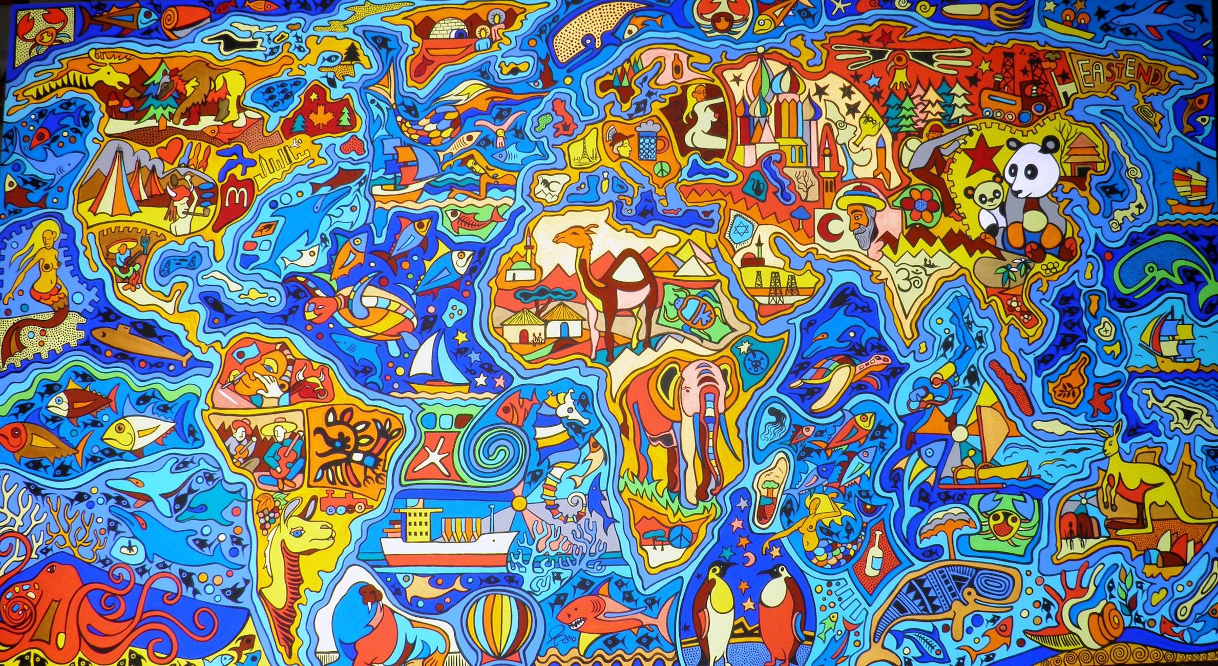 Carte du monde Graffiti tapisserie