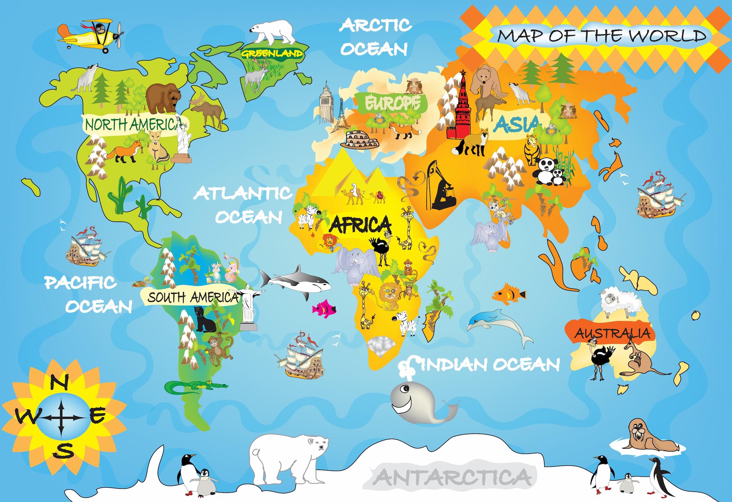 Carte du monde pour les enfants tapisserie murale