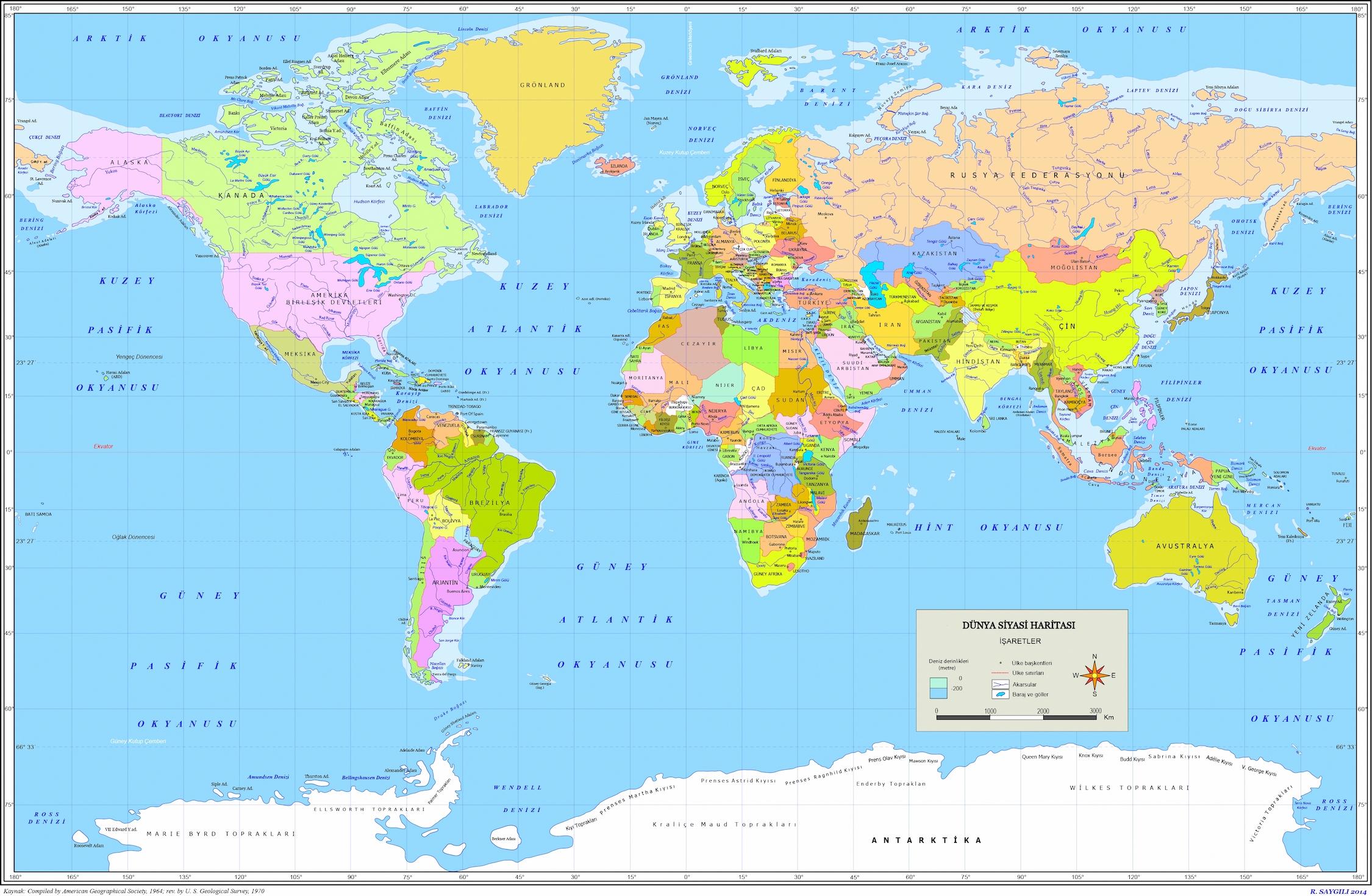 Carte du monde turc papiers peints photo 3D
