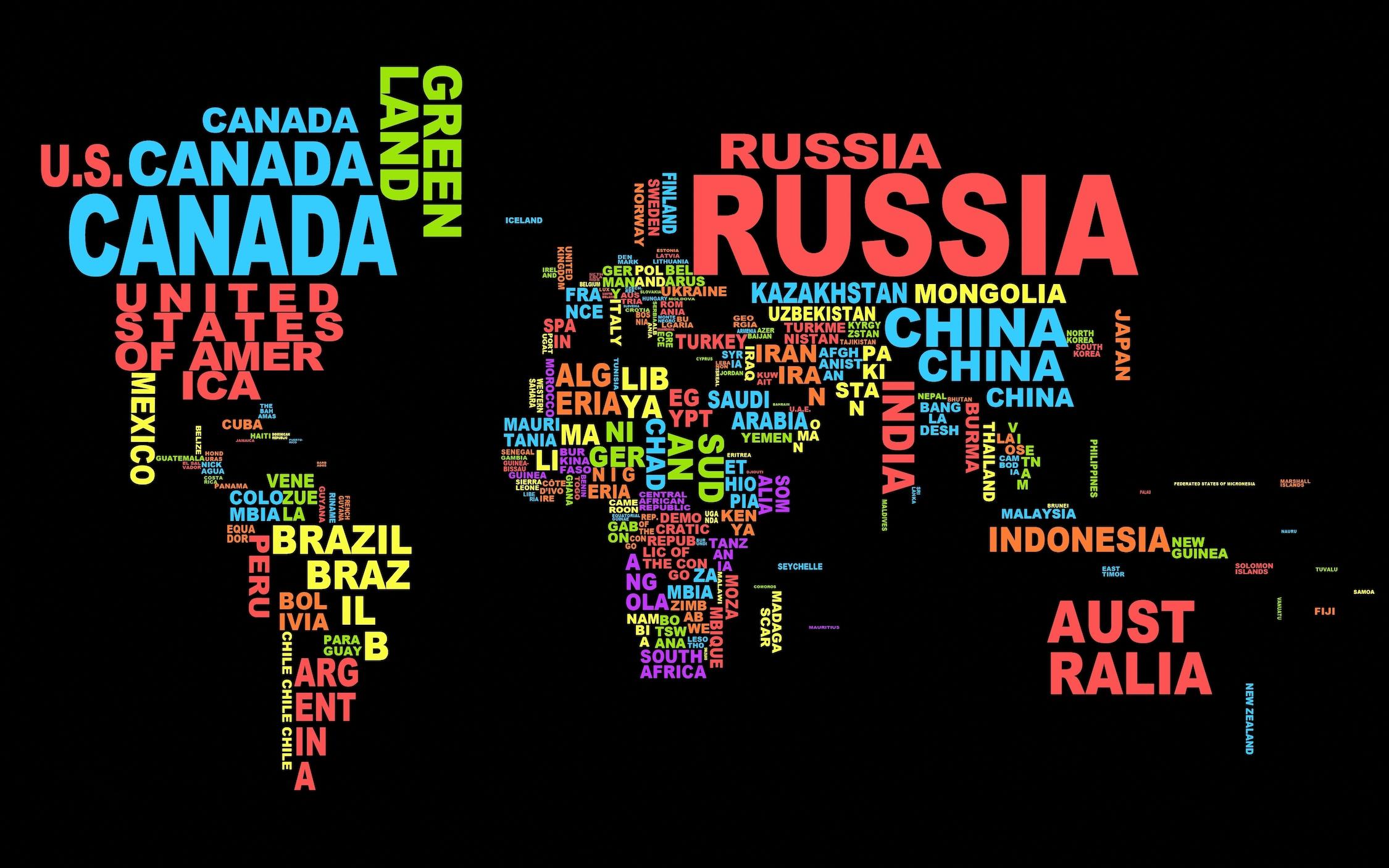 Carte du monde de typographie colorée papier peint