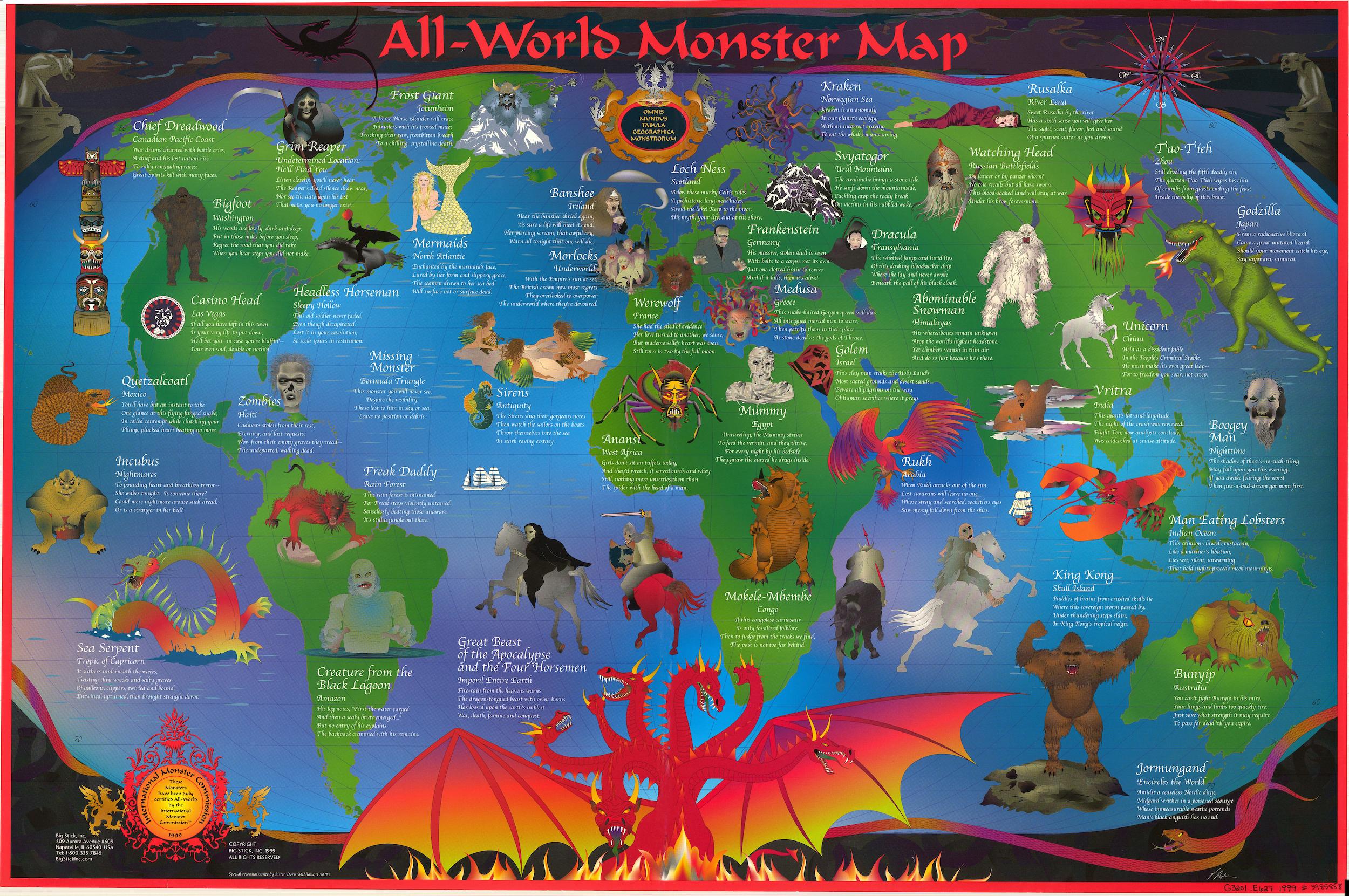 Carte du monde des monstres tapisserie