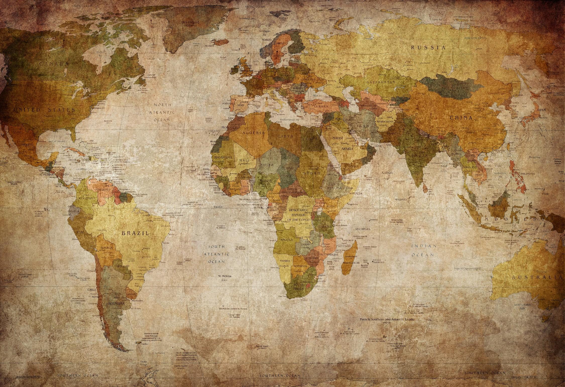 Carte du monde élégante papier peint