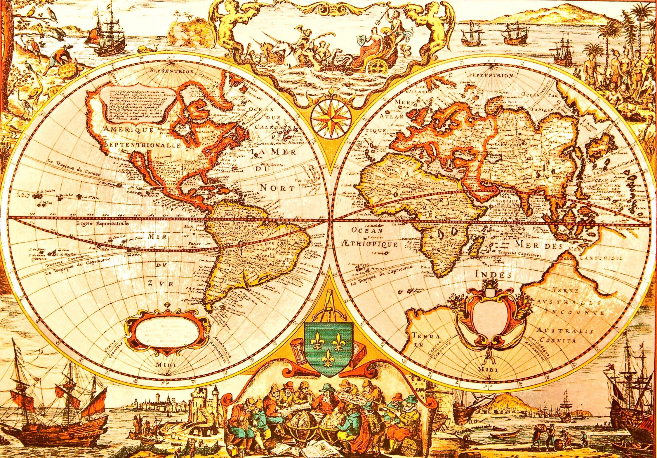 Carte du monde des temps anciens papiers peints photo