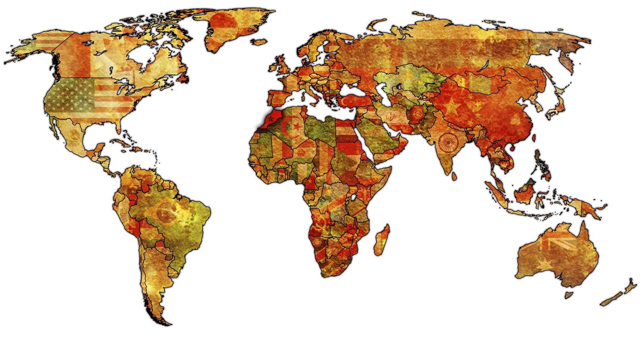 Carte du monde décorative de drapeaux papiers peints photo 3D