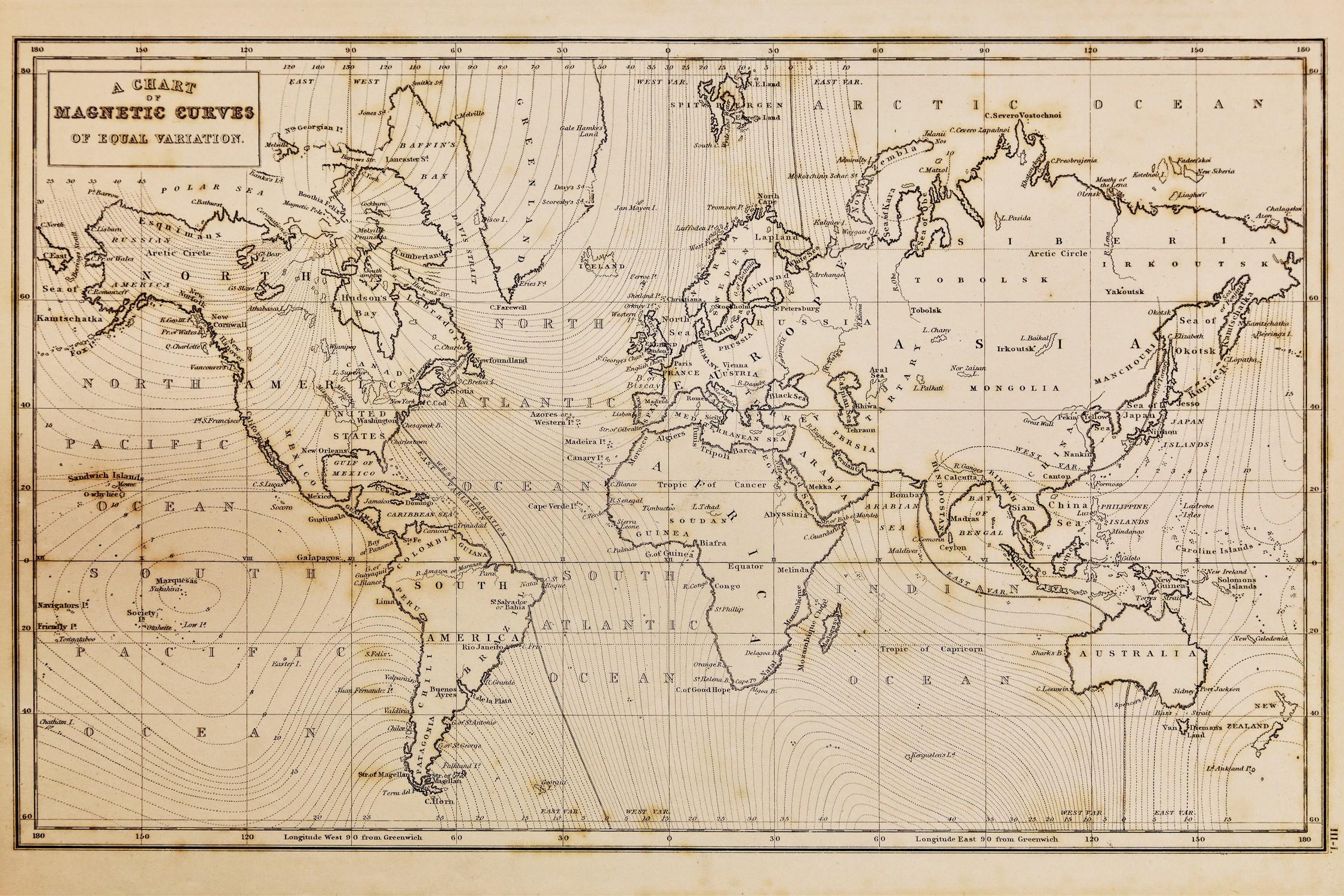 Carte du monde 1844 papier peint