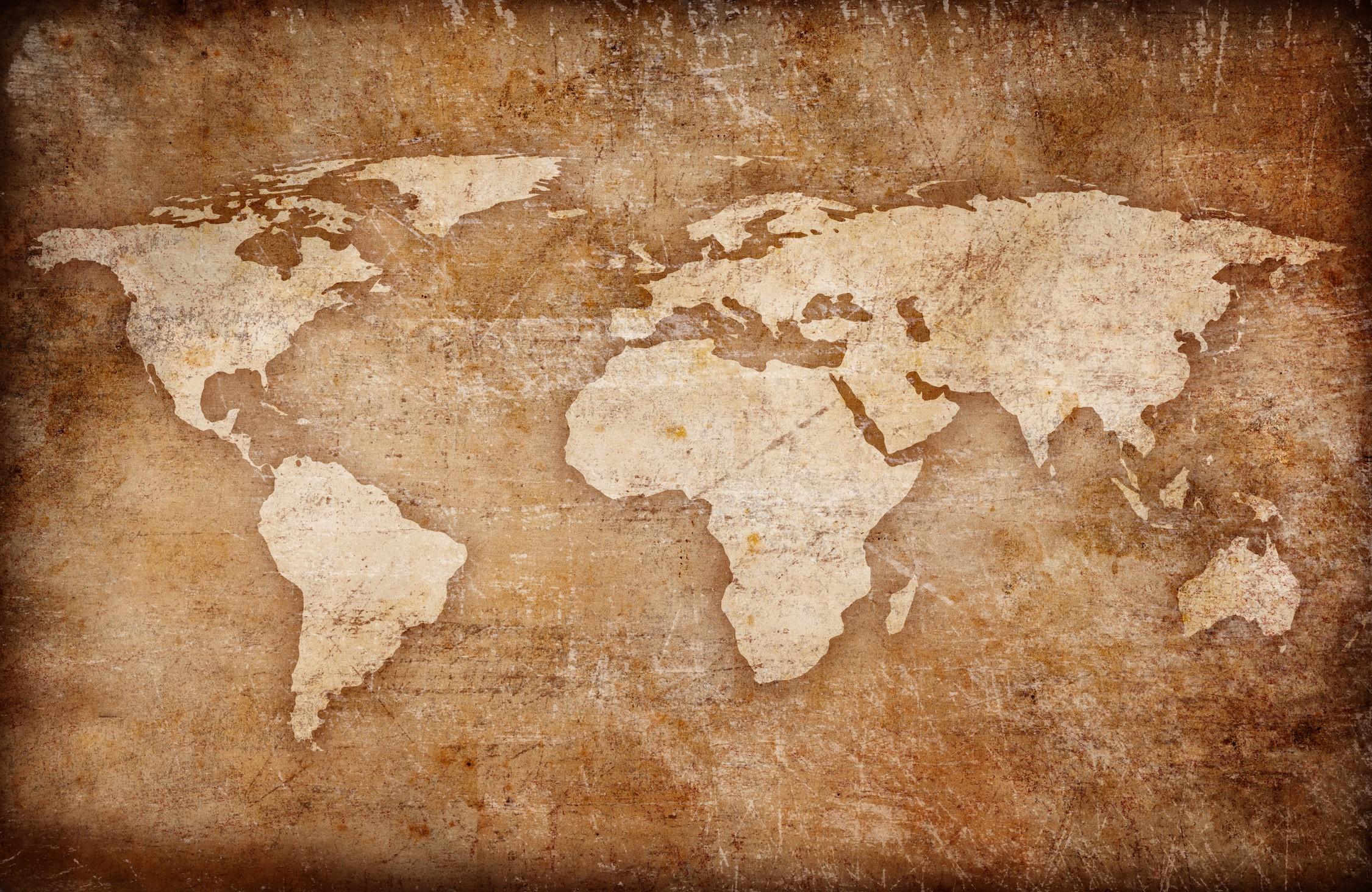 Carte du monde gravée decoration murale