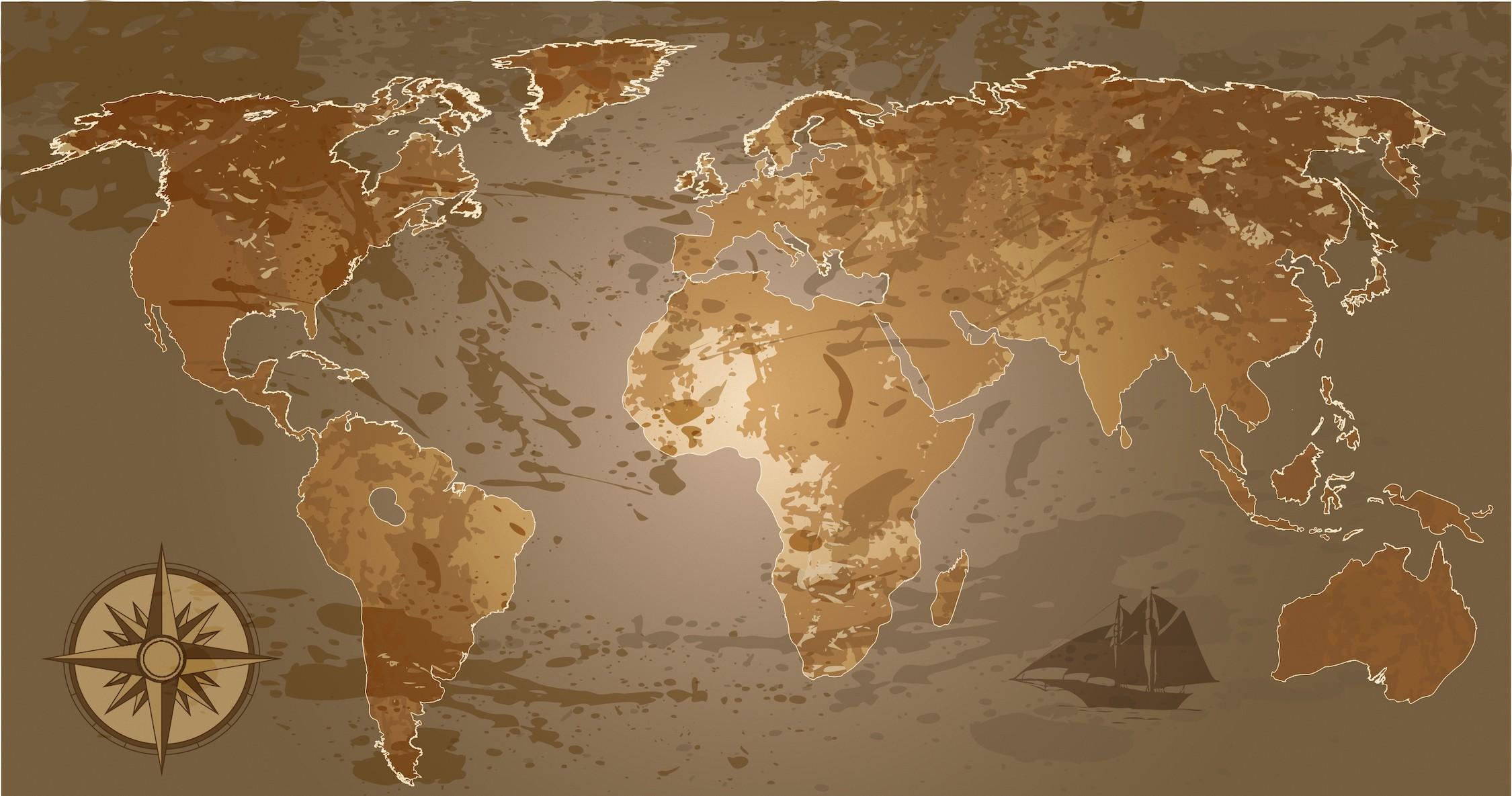 Carte du monde avec des nuances de brun papier peint 3d