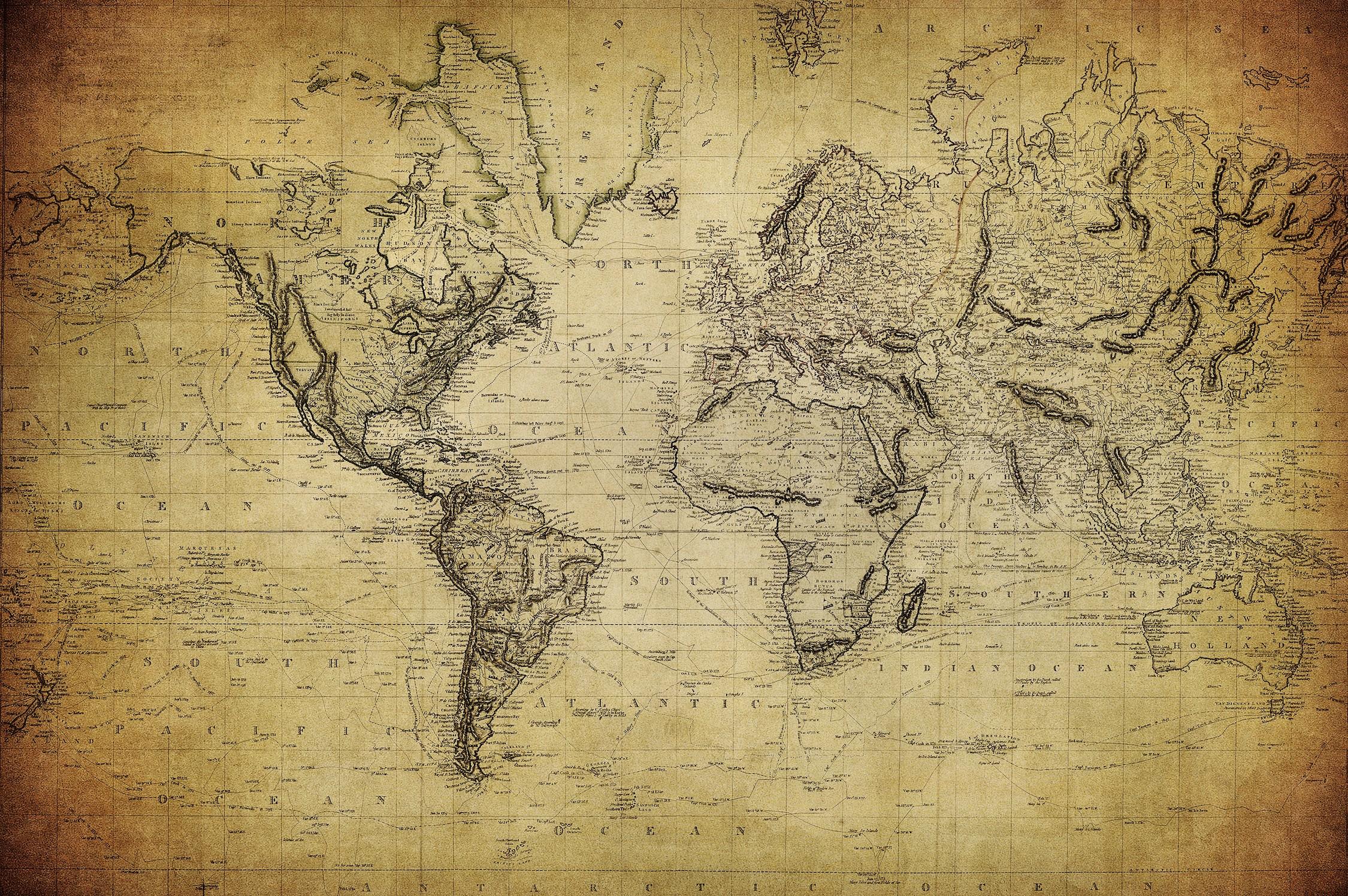 1814 carte du monde papiers peints photo 3D