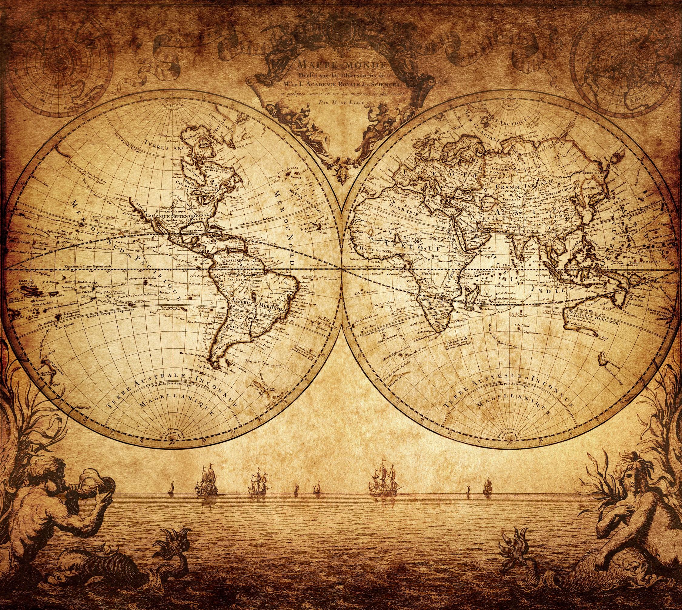 L'état du monde en 1733 papier peint