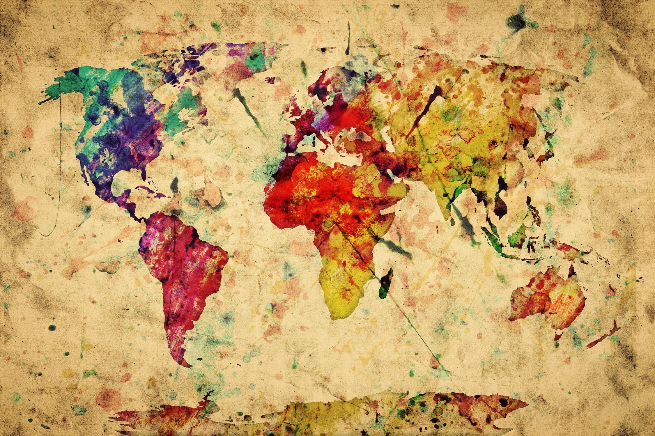 Monde comme œuvre d'art tapisserie murale