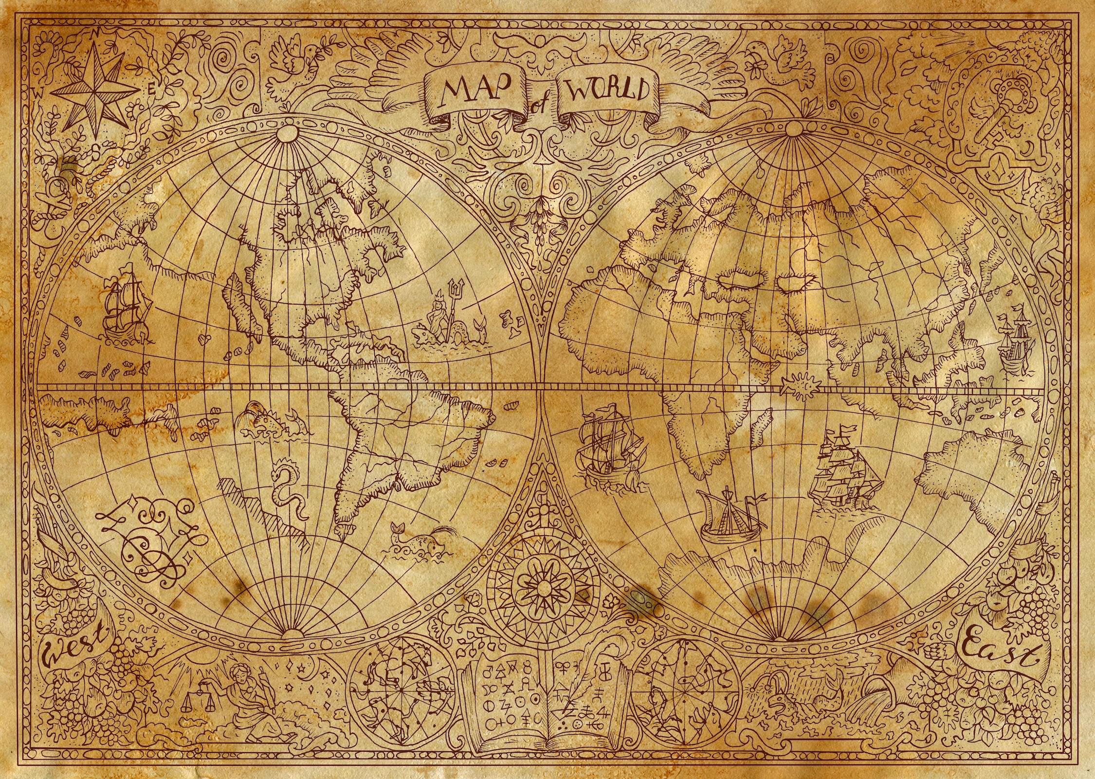 Vieux monde bidimensionnel papier peint 3d