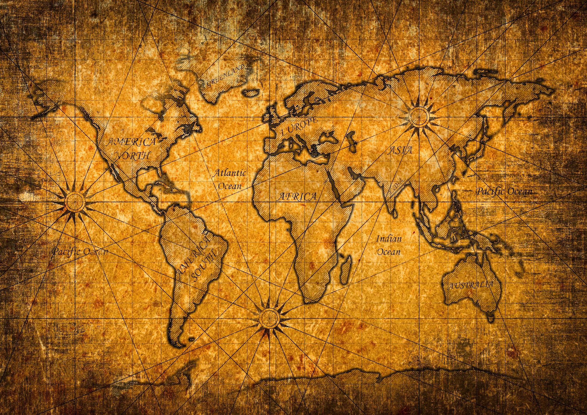 Carte du monde sur l'ancienne surface papiers peints photo