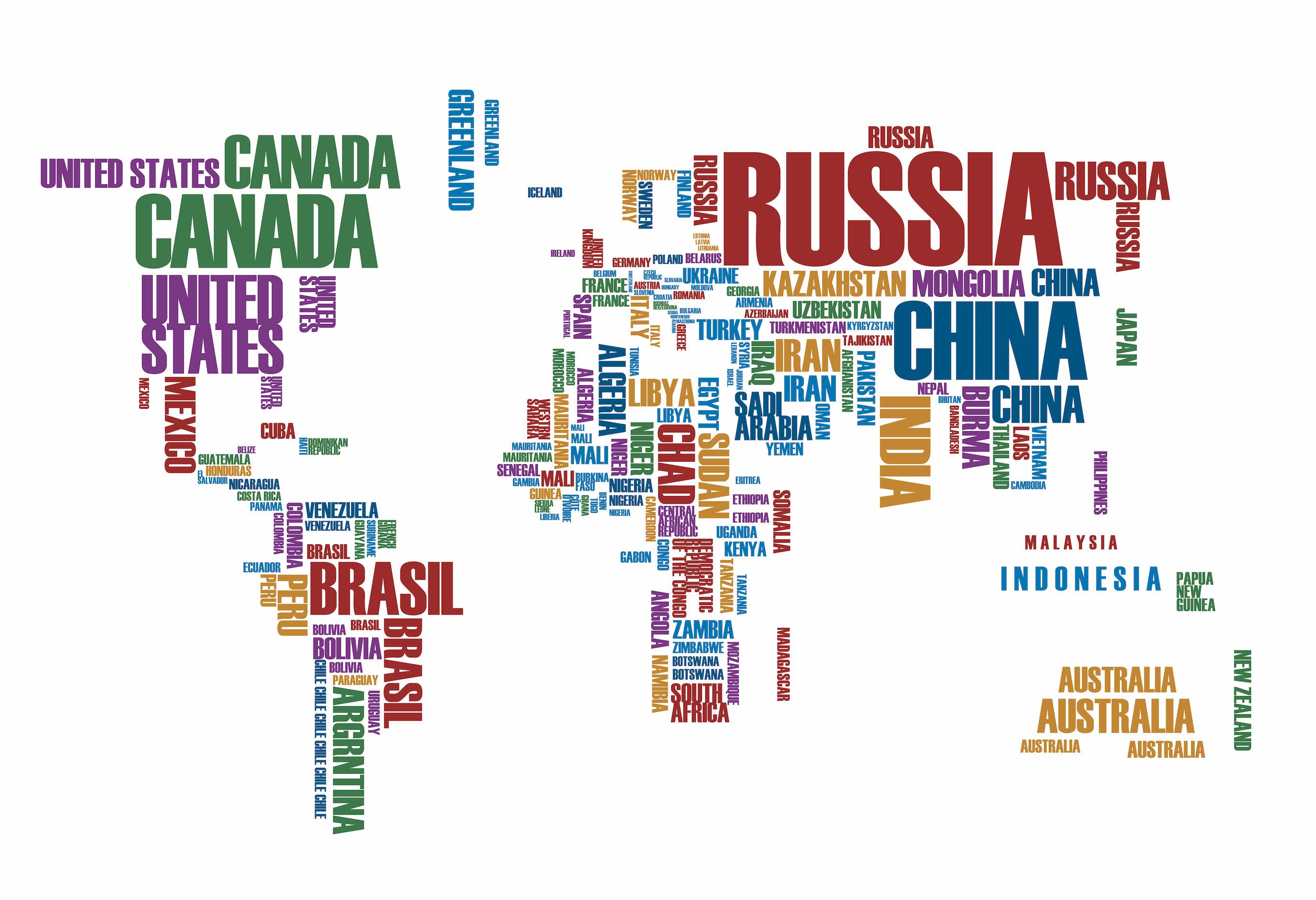 Carte du monde avec des lettres papier peint 3d