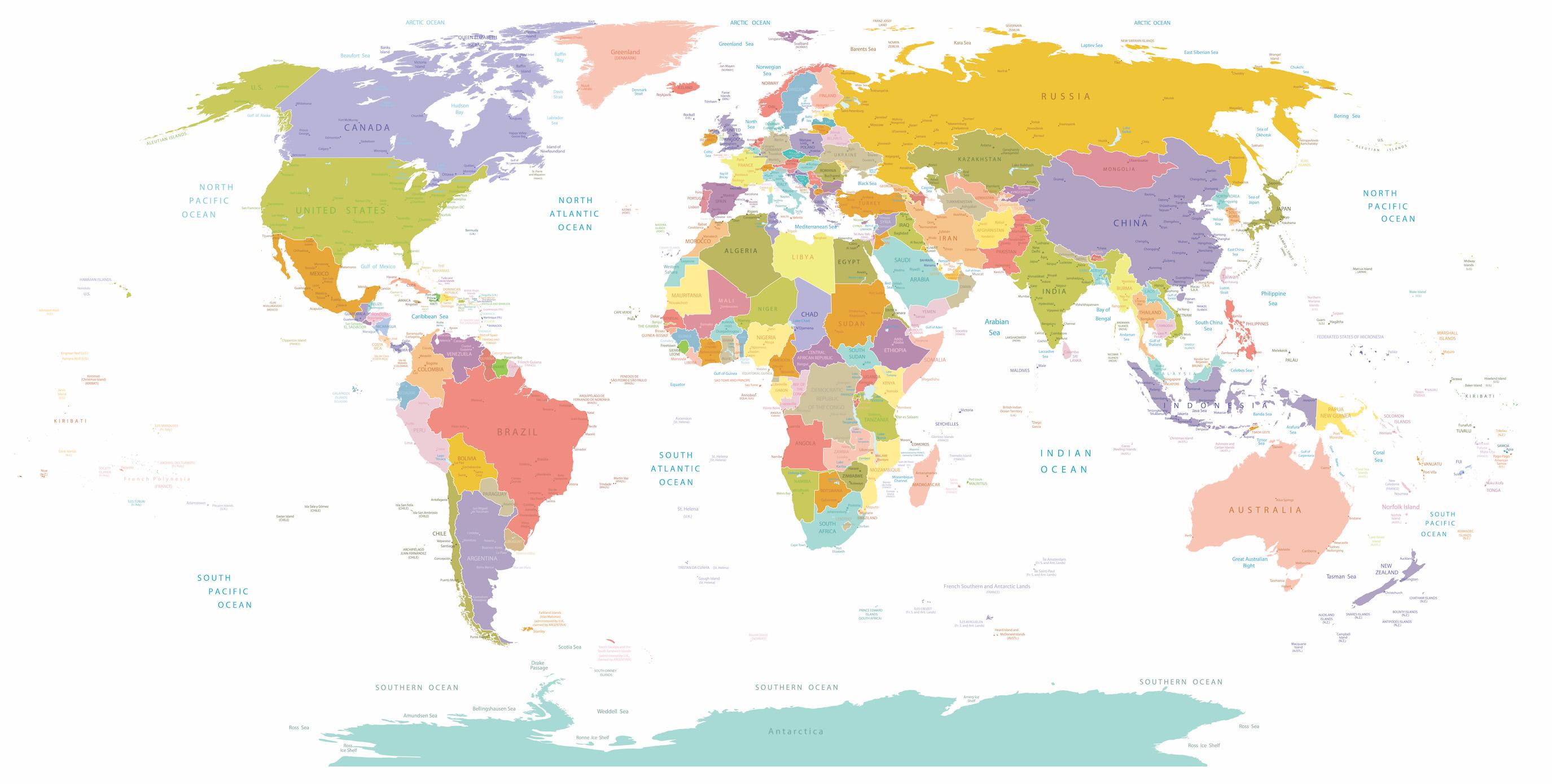 Carte du monde avec des villes papiers peints photo 3D