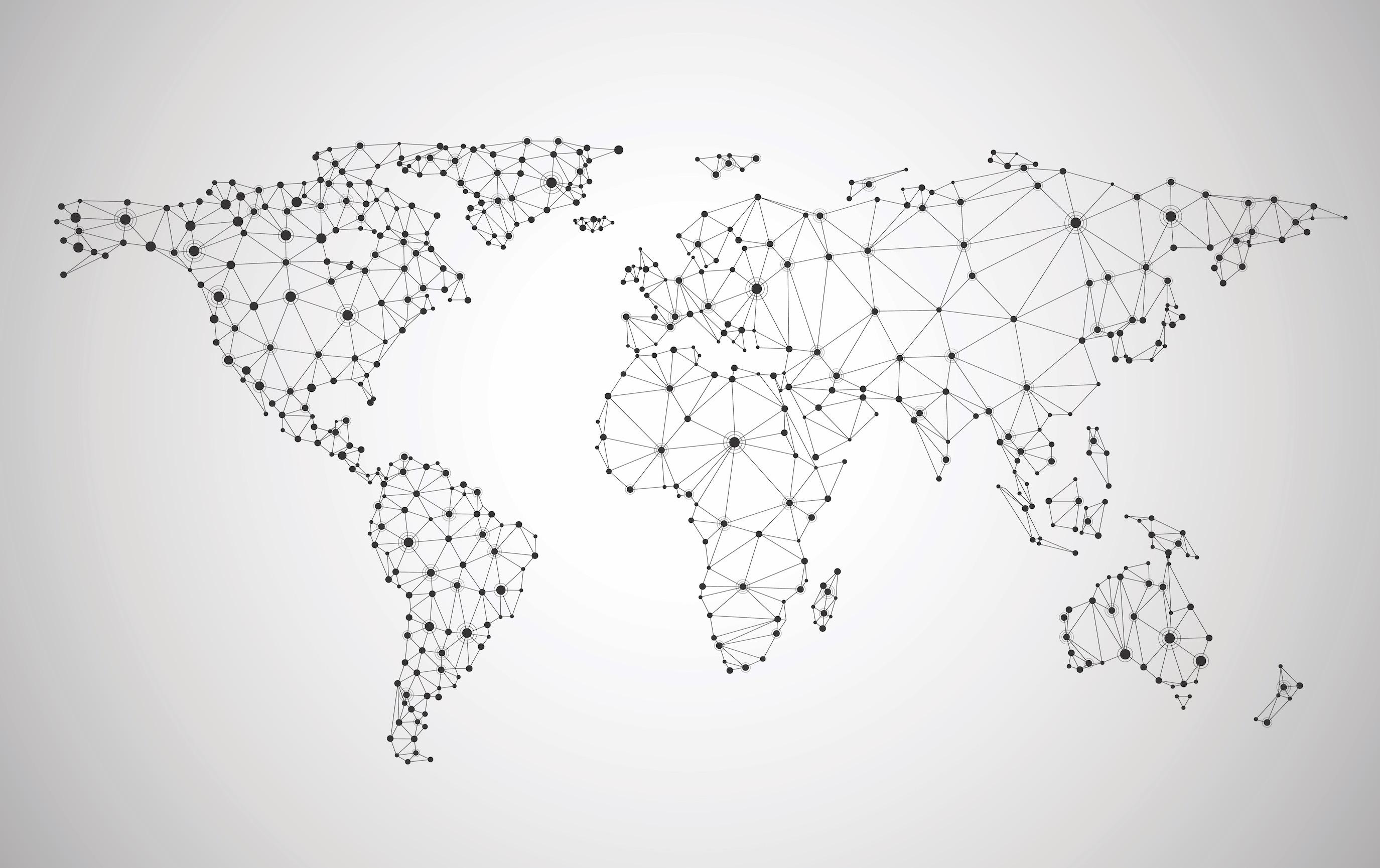 Carte du monde du réseau mondial tapisserie