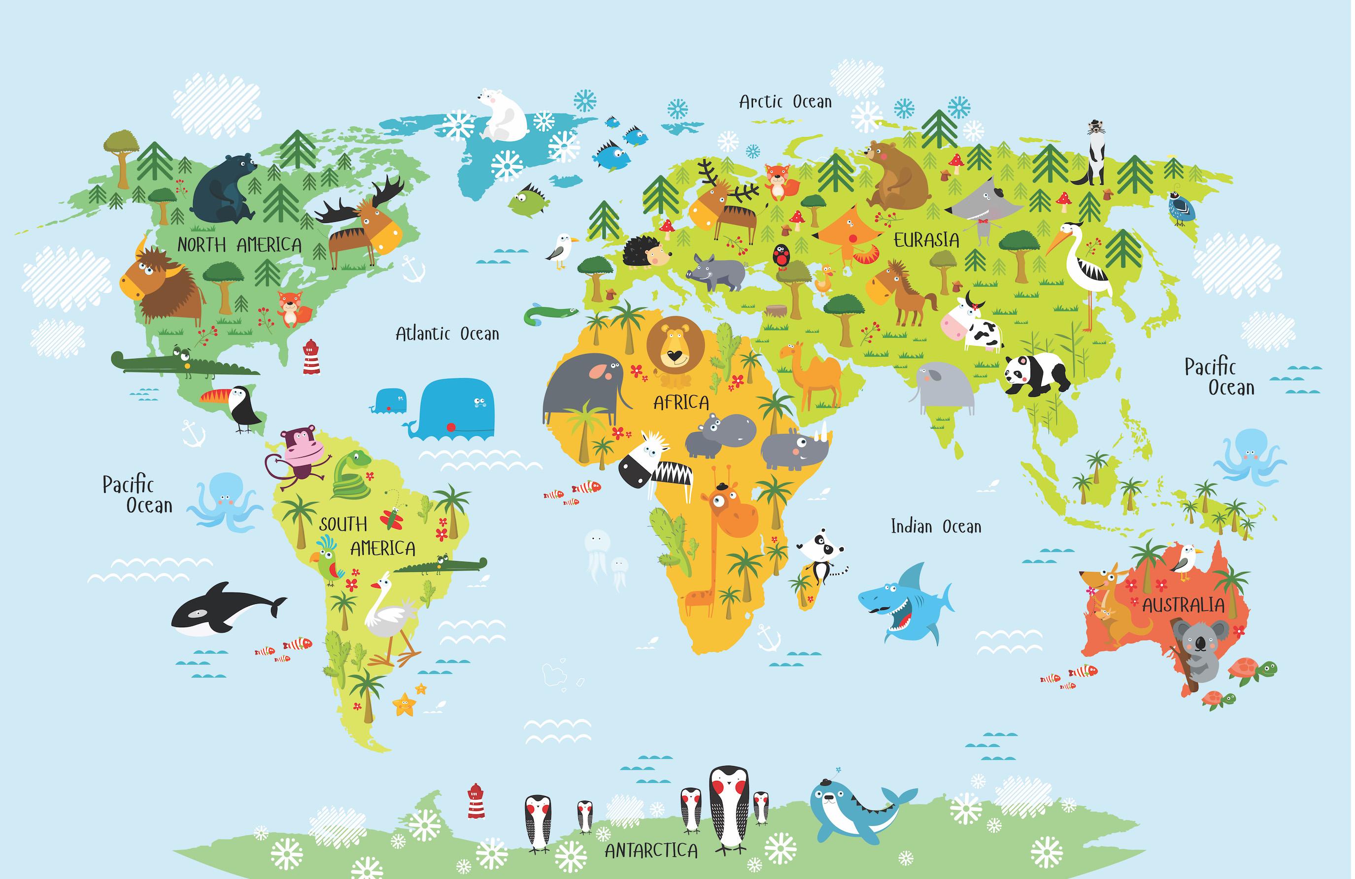 Carte du monde des animaux decoration murale