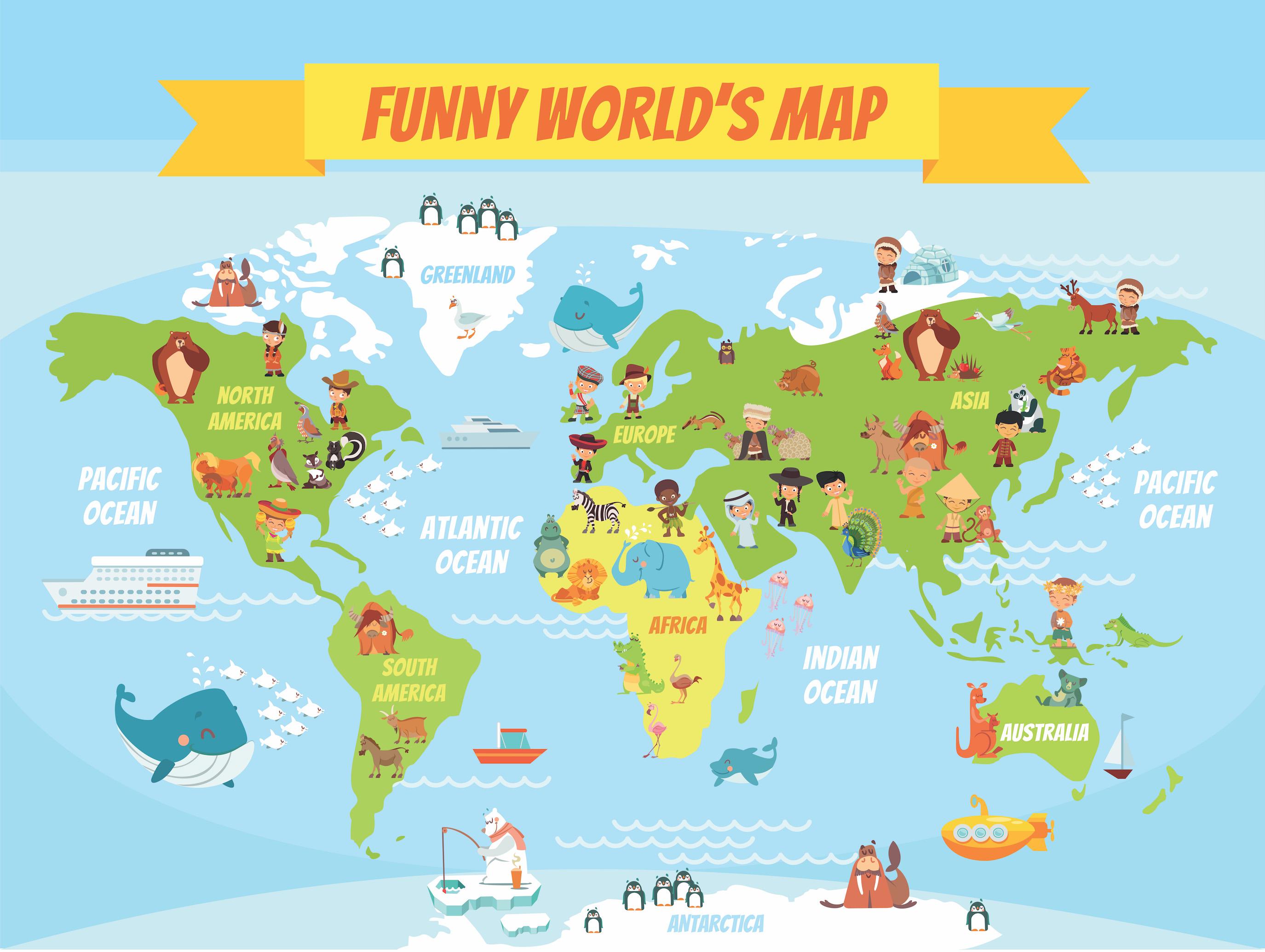 Carte du monde drôle tapisserie murale