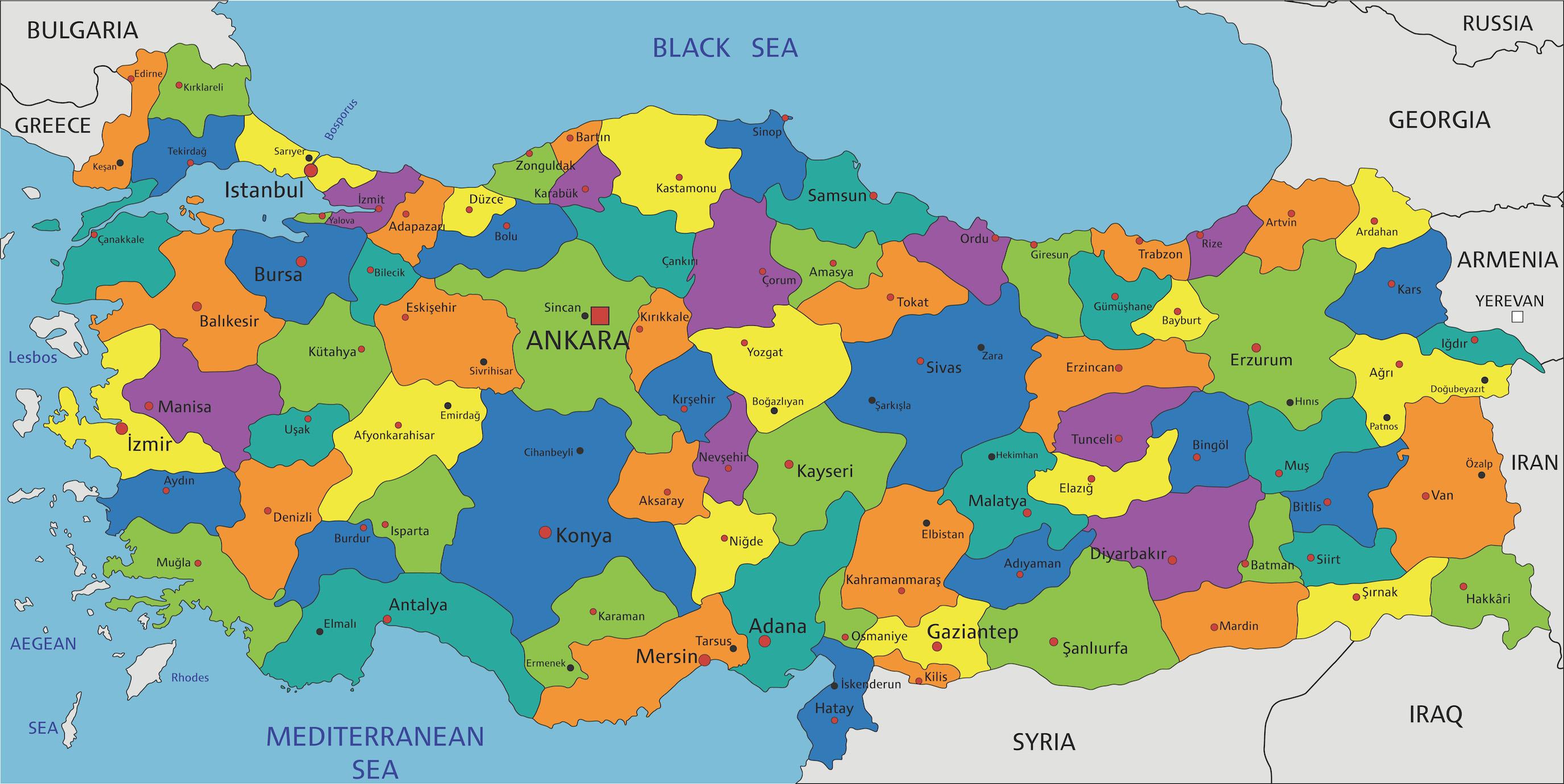 Carte de la Turquie dans des tons sombres papier peint 3d