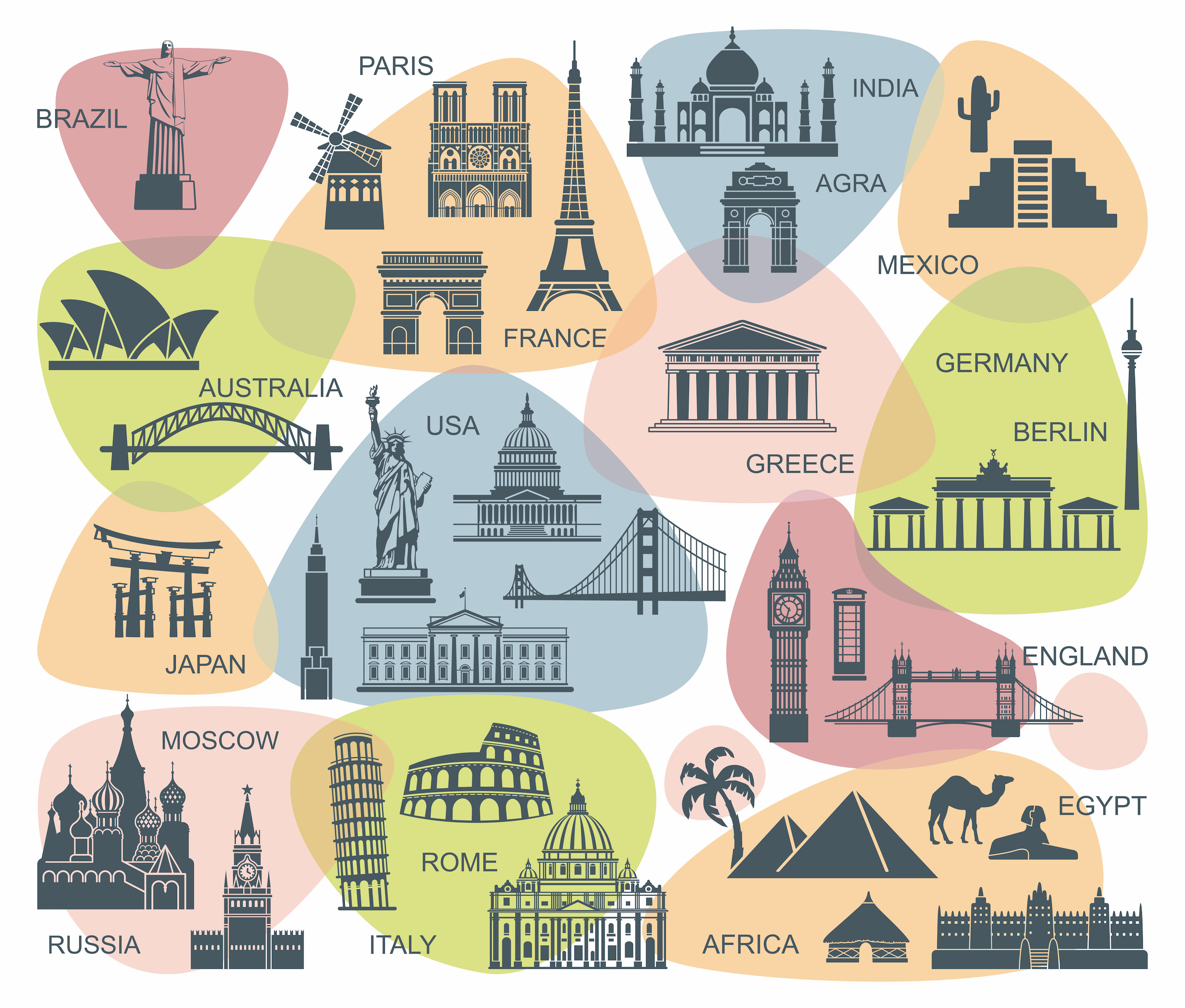 Carte du tourisme mondial papier peint