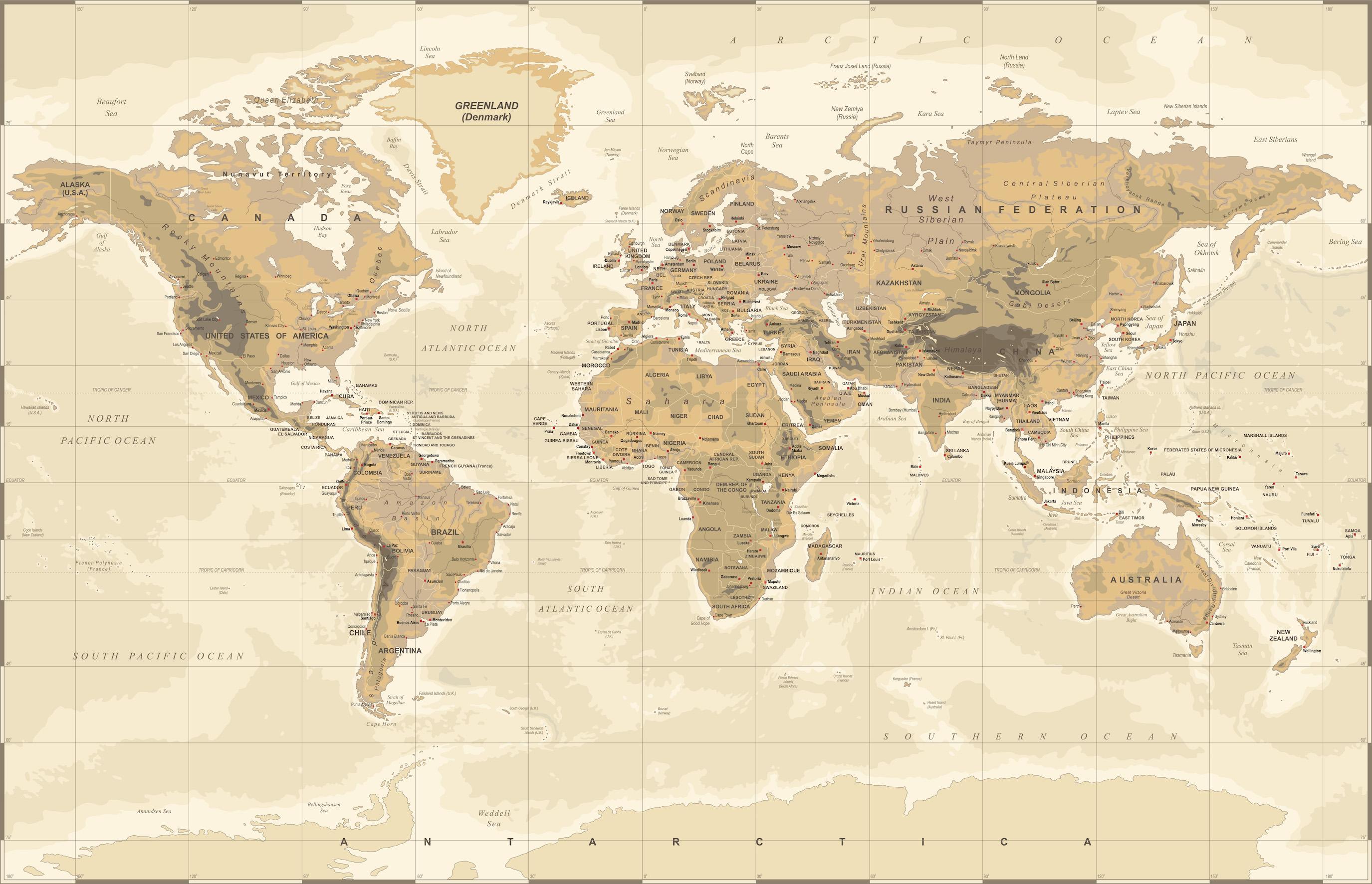 Carte du monde physique antique tapisserie murale