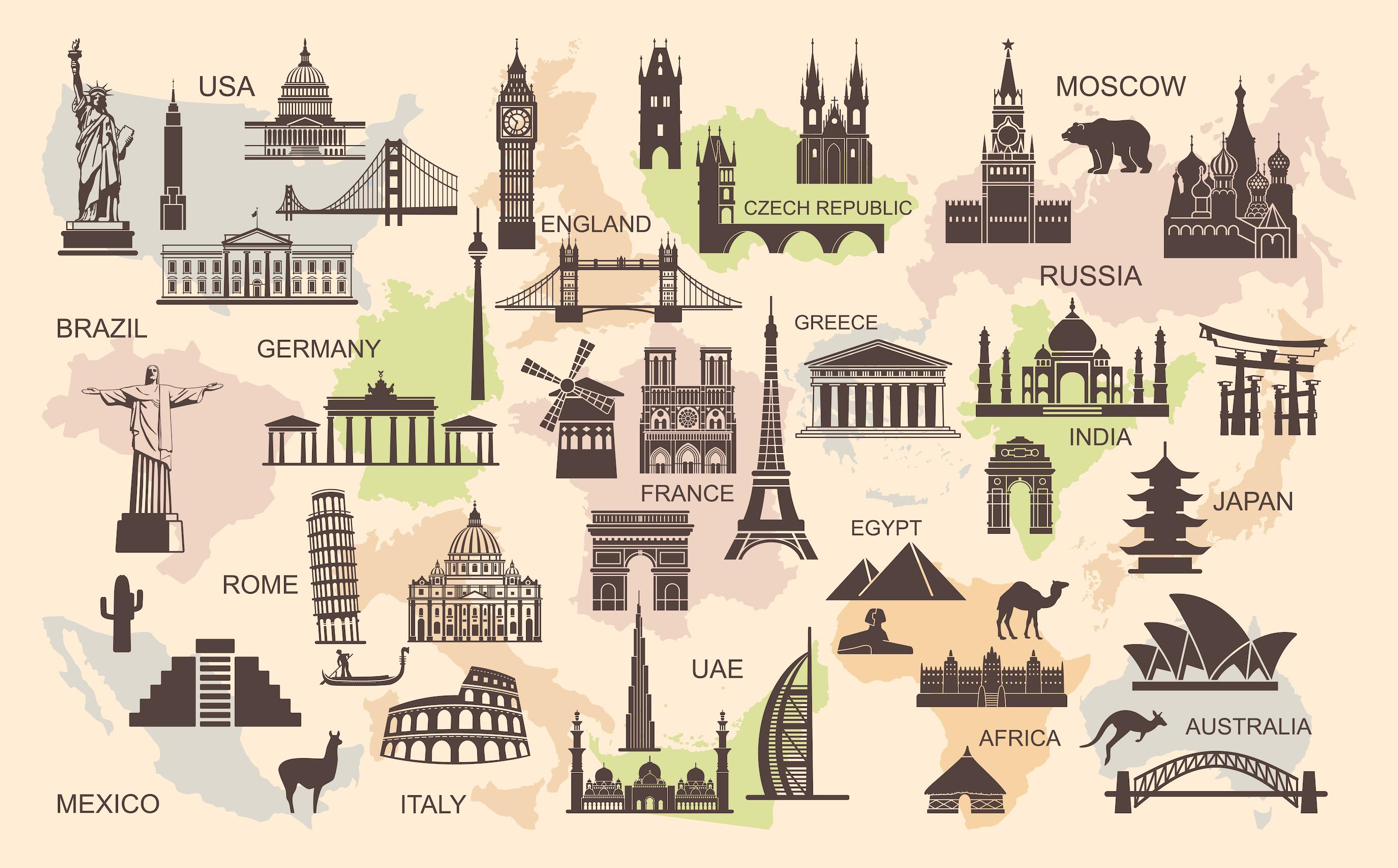 Symboles architecturaux du monde tapisserie