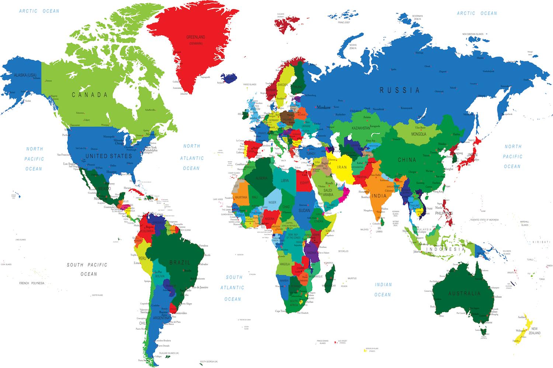 Carte du monde pour les bureaux tapisserie
