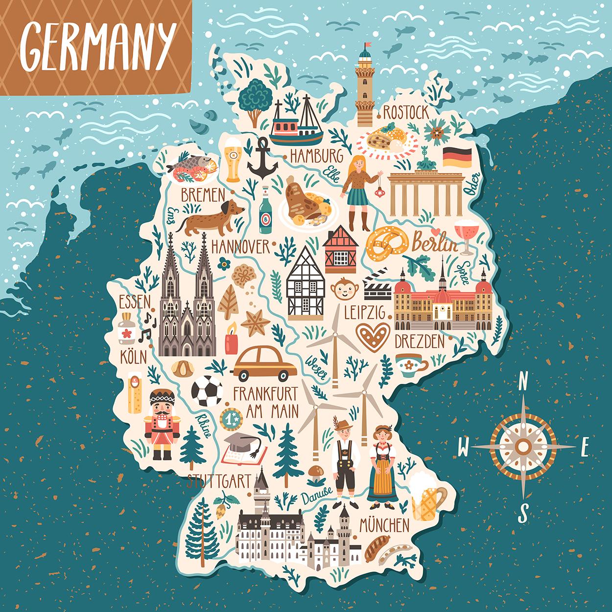 Carte des icônes de l'Allemagne papier peint 3d