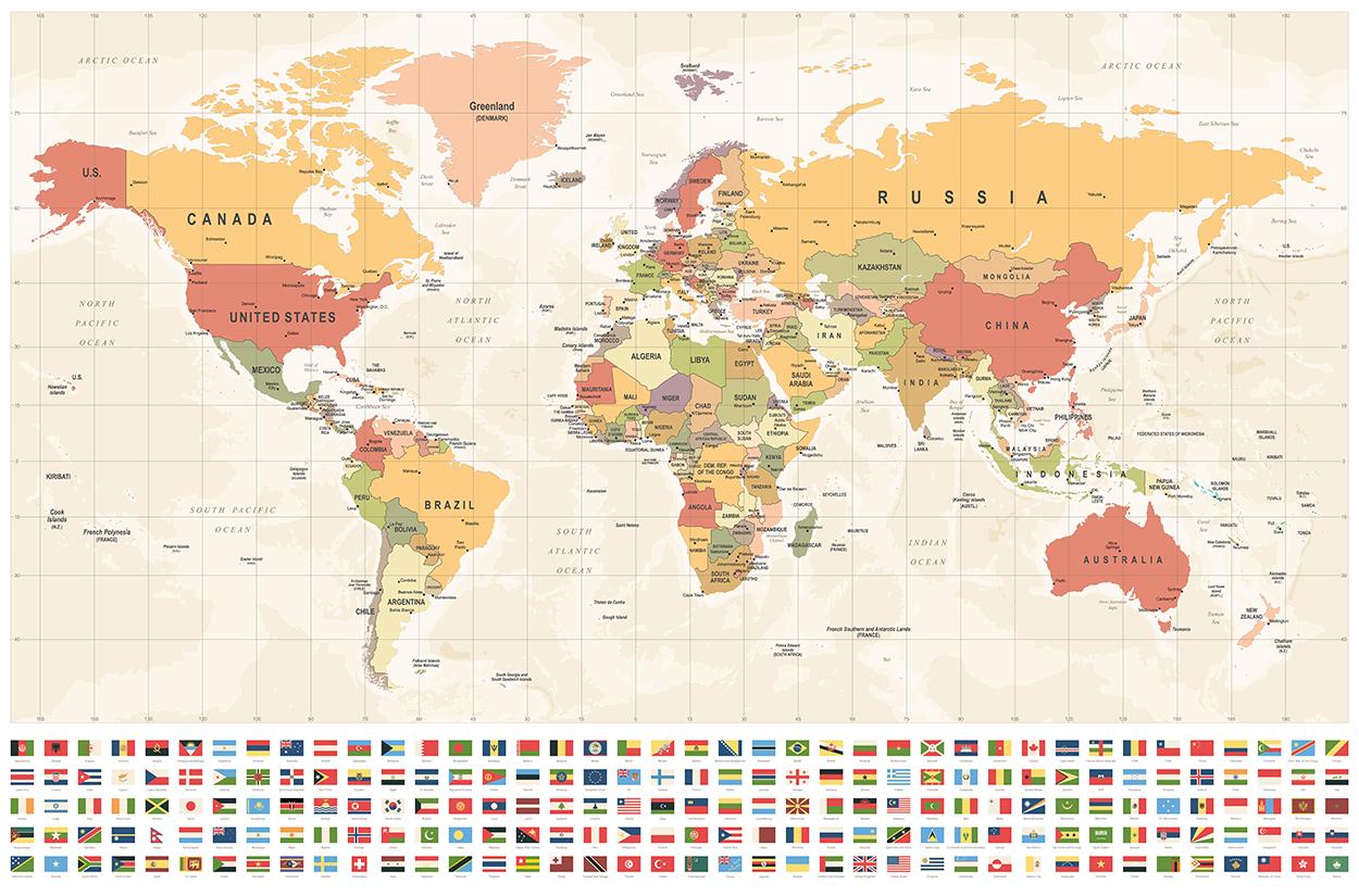 Carte du monde et drapeaux papier peint