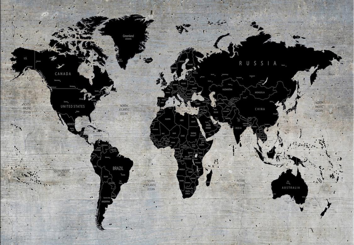 Carte du monde sur mur de béton papiers peints photo
