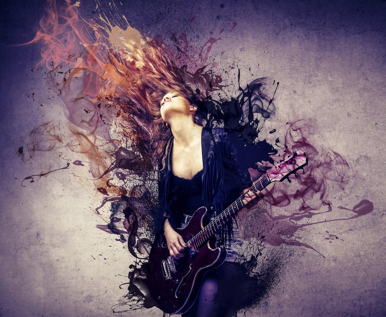 Guitariste de tir papier peint 3d