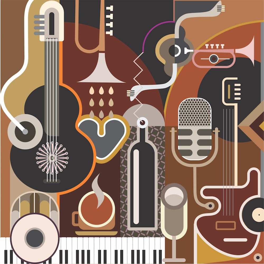 Musique et art tapisserie murale