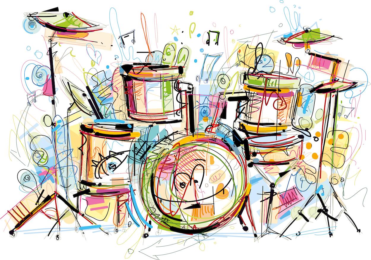 Tambours colorés papier peint