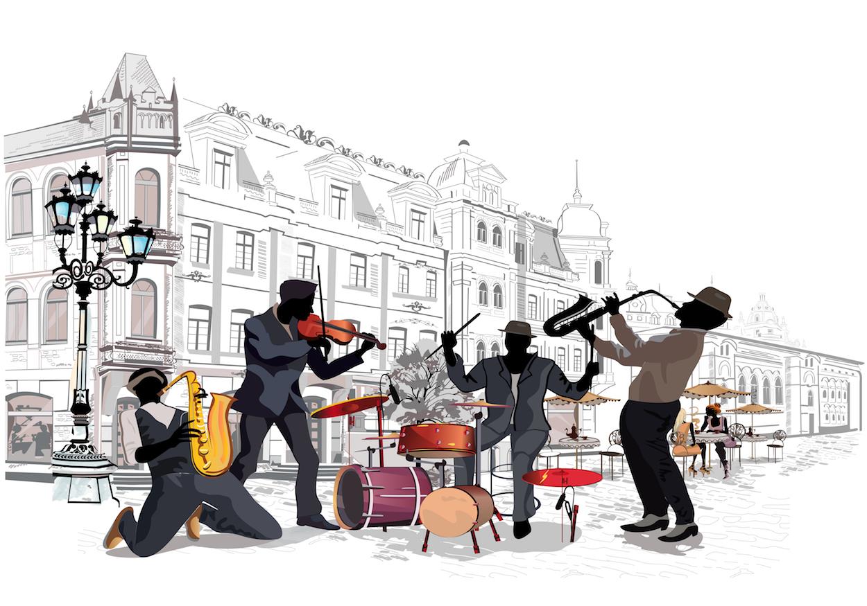 Musique de rue tapisserie