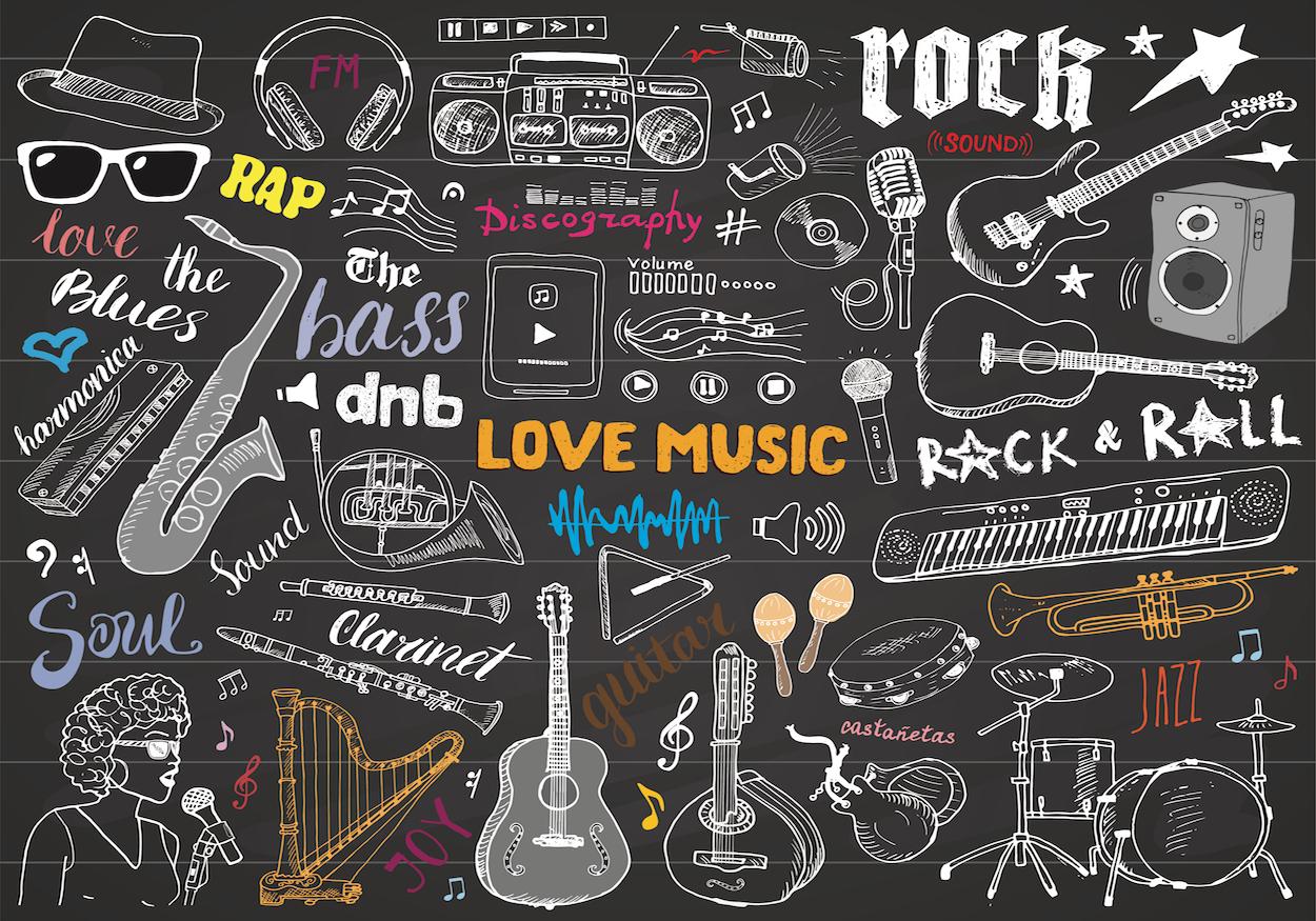Salon de musique decoration murale