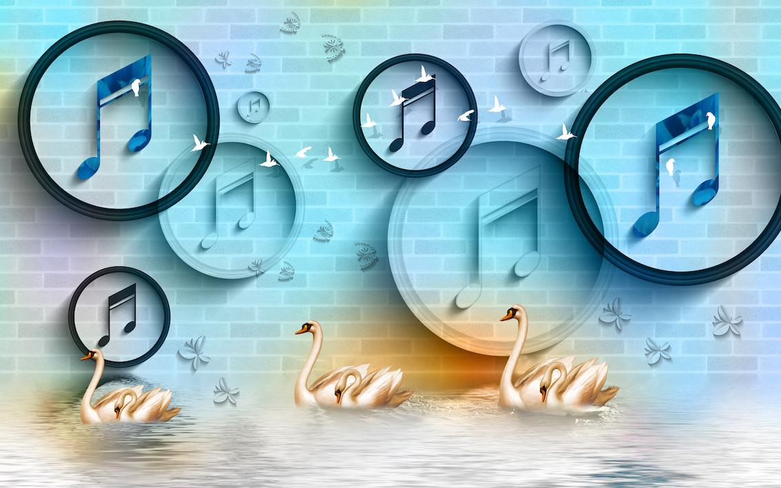Cygnes et musique papiers peints photo