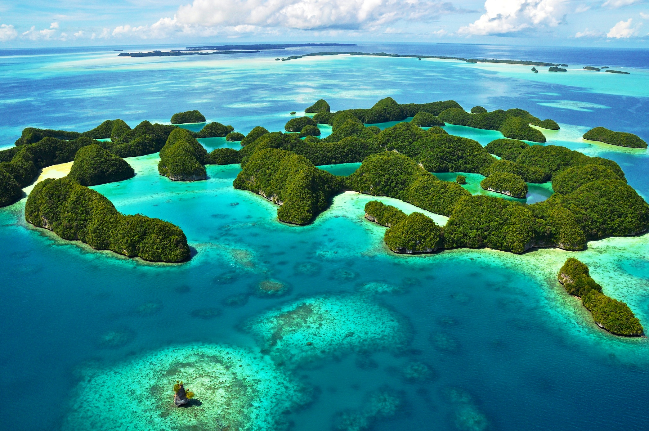 Vue aérienne sur l'île de beauté tapisserie