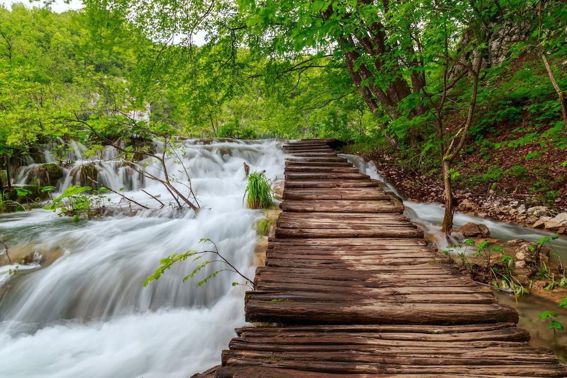 Pont de la cascade papier peint 3d