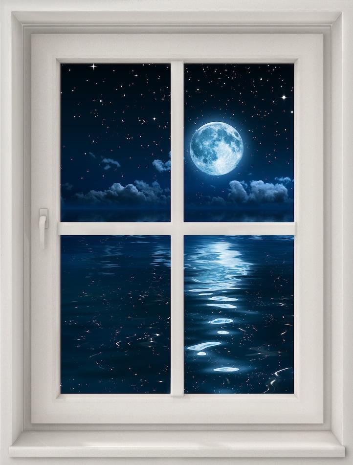 Clair de lune depuis ma fenêtre tapisserie appliqué sur le mur
