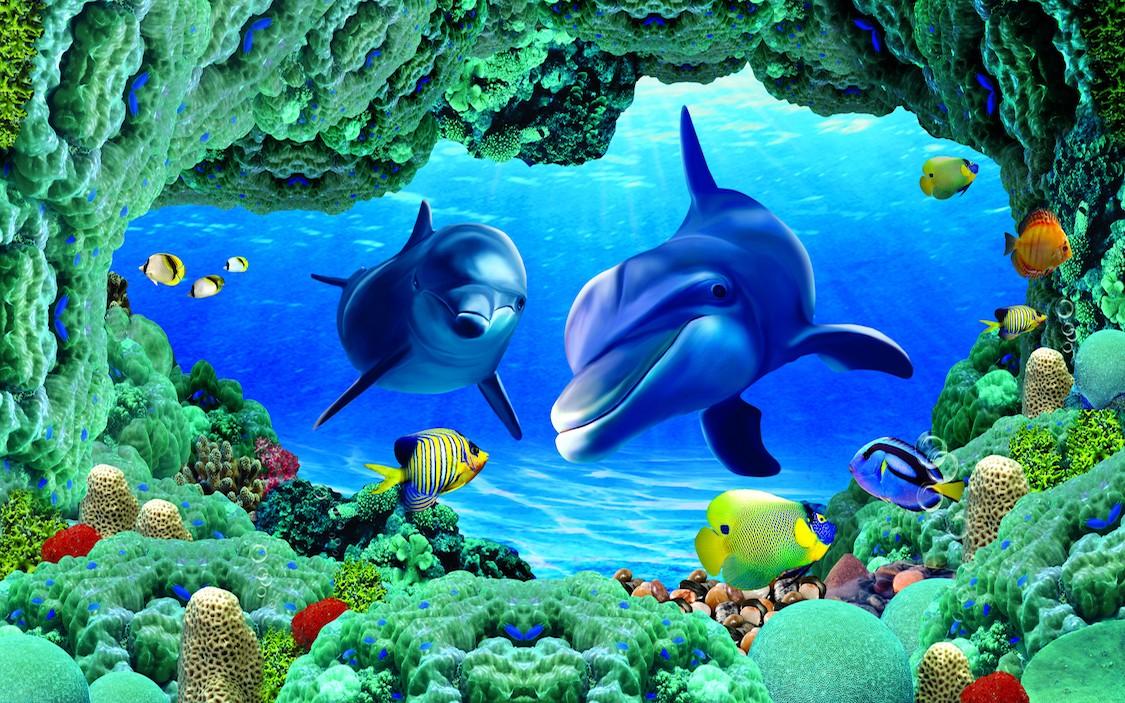 Dauphins dans les profondeurs de l'eau decoration murale