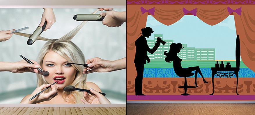 Papier peint photo 3D pour salon de coiffure et salon de beauté